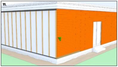 نصب افقی چوب ترموود در نمای ساختمان